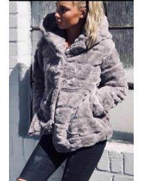Дамско късо палто в  сиво - код 9202