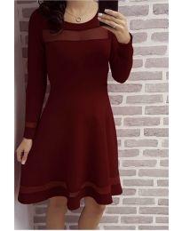 Елегантна рокля в цвят бордо - код 348