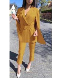 Елегантен дамски комплект в цвят горчица - код 867