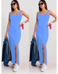 Дълга рокля с цепка в  светло синьо - код 3000