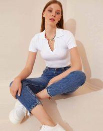 Атрактивна дамска тениска в бяло - код  13033