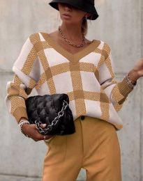 Ефектна дамска блуза в цвят капучино - код 8927