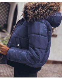 Дамско яке в тъмно синьо с пух - код 4949