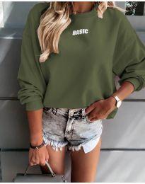 Дамска блуза в маслено зелено - код 5154