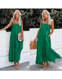 Дълга ефирна рокля в зелен цвят - код 551