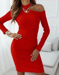 Атрактивна дамска рокля в червено - код 4859