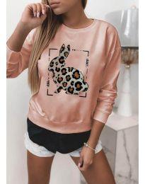 Дамска розова блуза с принт - код 3992