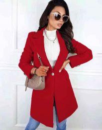 Дамско дълго палто с копче в червено - код 4704