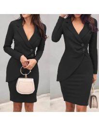 Елегантна рокля с имитация на сако в черно - код 540