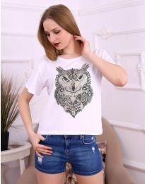 Бяла дамска тениска с бухал - код 3541