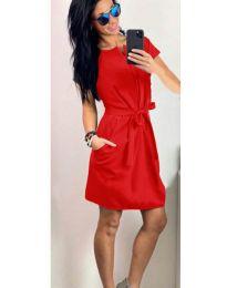 Елеганта рокля с колан в  червено - код 155