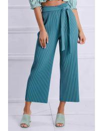 Ефирен панталон в цвят тюркоаз - код 4512