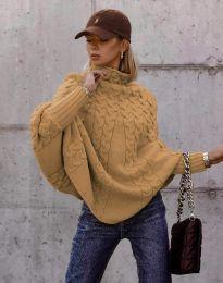 Дамски пуловер в цвят капучино - код 24831
