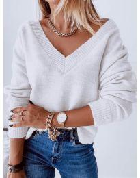 Дамски пуловер в бяло - код 6012