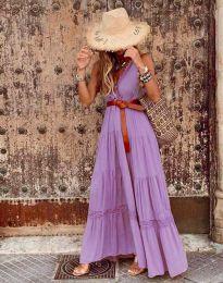 Атрактивна дълга рокля в лилаво - код 0817