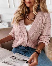 Дамска къса плетена жилетка с копчета в цвят пудра - код 3876