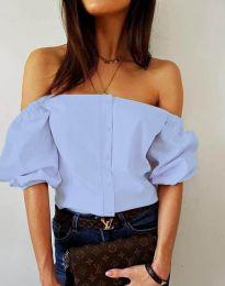 Екстравагантна дамска риза в светлосиньо - код 3525