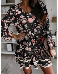 Черна къса дамска рокля на цветя - код 101