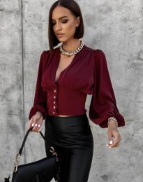 Екстравагантна дамска риза в бордо - код 2732