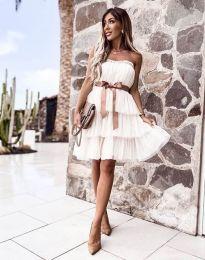 Кокетна дамска рокля в бяло с панделка - код 3065