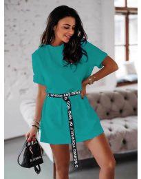 Изчистена дамска  рокля в  цвят тюркоаз - код 809