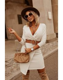 Изчистена рокля в бяло - код 9977