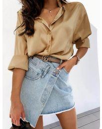 Изчистена дамска риза в цвят капучино - код 4646