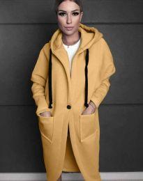 Стилно спортно-елегантно дамско палто с качулка в жълто - код 0855
