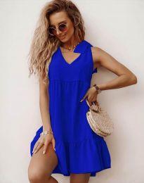Свободна къса рокля в синьо - код 7206