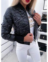 Черно късо дамско яке с цип - код 655