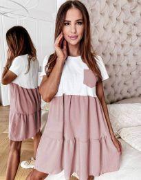 Дамска рокля в цвят пудра - код 2506