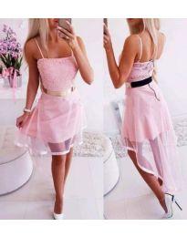 Стилна розова рокля с асиметричен тюл - код 641
