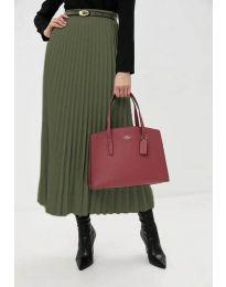 Стилна пола в маслено зелено - код 8760