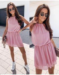 Ефирна дамска рокля в цвят пудра - код 513