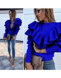 Блуза с ефектна предна част в синьо - код 699