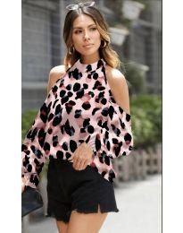 Дамска блуза с ефектен десен в розово - код 1193