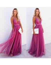 Ефирна дълга рокля в цвят циклама - код 5587