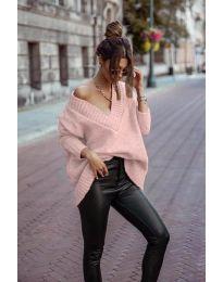 Дамски пуловер в розово - код 5952