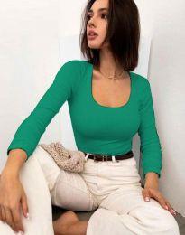 Изчистена блуза в зелено - код 11662