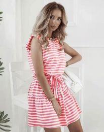 Атрактивна рокля в червено райе - код 7211