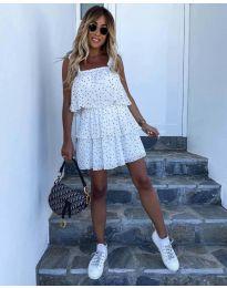 Свободна къса дамска рокля в бяло - код 6140