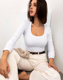 Изчистена блуза в бяло - код 11662