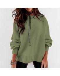 Дамски пуловер в маслено зелено - код 3345