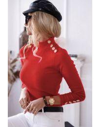 Дамска блуза с поло яка в червено - код 6343
