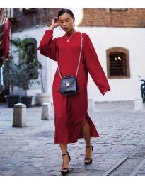 Свободна дамска рокля в бордо - код 5501