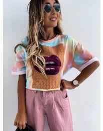 Дамска  тениска с принт  - 6677