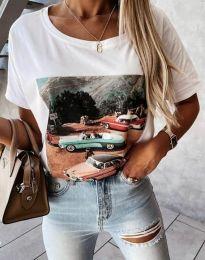 Тениска в бяло с принт - код 2460