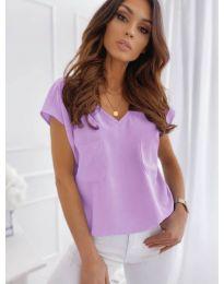 Свободна изчистена тениска в лилав цвят - код 920