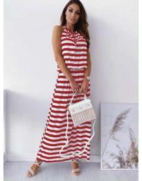 Дълга рокля на червено райе - код 1515
