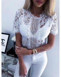 Дантелена блуза - код 451 - бяло